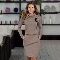 Pure Color Long Sleeves Knee-Length Office Dress