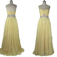 2014 Crystals Light Yellow Sweetheart Strapless A-line Long Ruffled Bridesmaid Dress,Court Train Chiffon Party Prom Dress