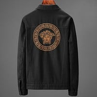 Versace New fashion embroidery human head long sleeve coat jacket Black