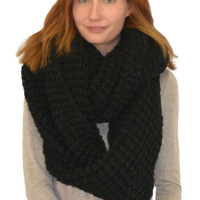 oversized knit infinity scarf | black