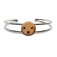 Chihuahua Face - Close-up Dog Pet Silver Plated Metal Cuff Bracelet