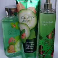 3 SET Bath & Body Works CUCUMBER MELON Body Cream / Fragrance Mist / Shower Gel