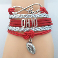 Infinity Love Ohio State University Football Wrap Bracelet
