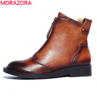 MORAZORA 2017 new brown black genuine leather boots women's ankle boots flat heel fashion motorcycle  boots autumn winter shoes