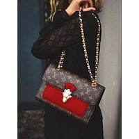 LV Hot Sale Classic Stitching Monogram Leather Metal Chain Handbag Shoulder Bag Crossbody Satchel Red