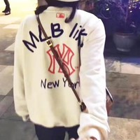 NY MLB Autumn Winter Popular Couple Casual Print Long Sleeve Round Collar Top Sweatshirt Sweater