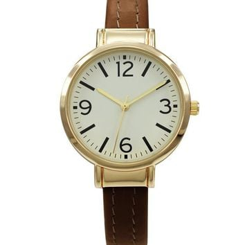 BrownVegan LeatherCuff Watch with Gold Case and Gold Dial