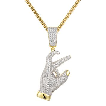Iced Out Expression Gang Sign Silver Pendant Chain