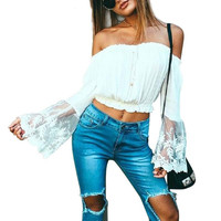 2016 Summer Off Shoulder White Lace Women Blouse Casual Long Sleeve Beach Girls Crop Tops Sexy Embroidery Bow Blousas Blusas