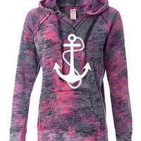 Anchor Chain Women's Burnout Raspberry Swid V Notch Hoodie