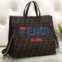 FENDI ROMA Shopping Bag Handbag Tote Shoulder Bag Crossbody Satchel