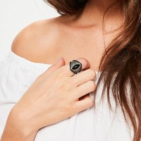 Missguided - Black Stone Statement Ring