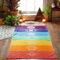 Rainbow Yoga Blanket or Wall Tapestry