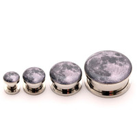 Full Moon Picture Plugs gauges - 16g, 14g, 12g, 10g, 8g, 6g, 4g, 2g, 0g, 00g, 7/16, 1/2, 9/16, 5/8, 3/4, 7/8, 1 inch