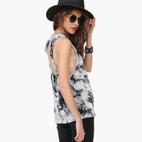 White Tie Dyed Halter Cutout Back Tank Top