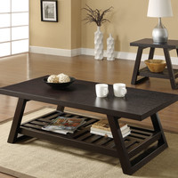 Contemporary Coffee Table with Slatted Bottom Shelf in Rich Brown
