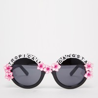 Rad + Refined Tropical Gangsta Round Sunglasses with Hibicus Flowers