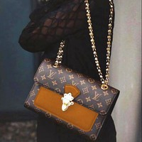 LV Louis Vuitton Classic Popular Women Shopping Leather Metal Chain Handbag Shoulder Bag Brown