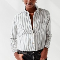 UO Lilyanna Striped Button-Down Shirt   Urban Outfitters