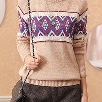 Vintage Heathered Argyle Knit Long Sleeve Pullover Sweater