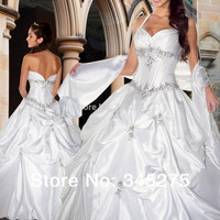 In stock white halter taffeta beaded appliques wedding ball gown cheap wedding party dress