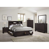 """Queen Bed Frame - 71"""" X 63"""" X 48"""" Espresso Rubber Wood Queen Bed With Storage"""