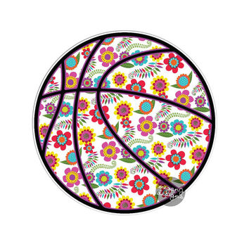 Floral Basketball Decal - Colorful Flower Car Decal Sporty Laptop Decal Vinyl Bumper Sticker Teal Turquoise Pink Green Yellow Bball Baller