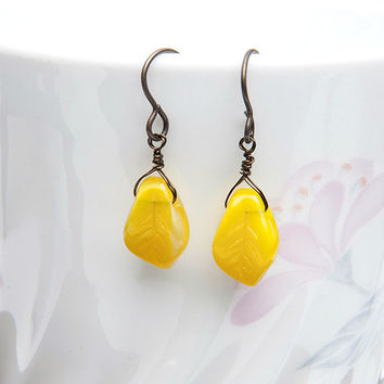 Yellow Leaf Earrings, Dangle Earring, Nature Jewelry, Mothers Day Gift