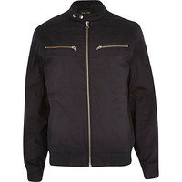 River Island MensNavy double popper bomber jacket