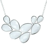 Jane Stone Pure White Bubble Bib Necklace Fancy Chunky Necklace Fashion Jewelry Statement Necklace Evening Party Jewellery(Fn0564-Pure White)