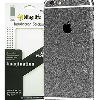 """Bling Life Luxury Glitter Sparkle Diamond Crystal Screen Protector Decal Sticker Full Body Film Cover for iPhone (iPhone 6/6s 4.7"""" Black)"""
