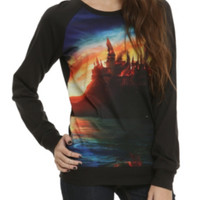 Harry Potter Burning Hogwarts Girls Pullover Top