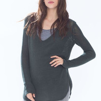 Wooden Ships Cotton Shirt Tails V-Neck Sweater in Forest Green