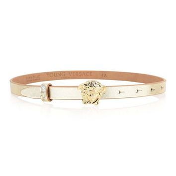Versace Girls Gold Leather Belt with Logo Buckle