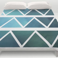 Blue - Duvet Cover -  Bed Spread -  - Duvet Cover Only - Bedding - Shades of Blue Triangle Art