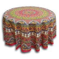 Cotton Elephant Mandala Floral Print Red Green Blue Gold Tablecloth Round