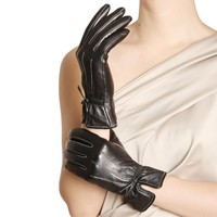 WARMEN Women Genuine Nappa Leather Winter Warm Gloves 3 Classic White Lines with Bows