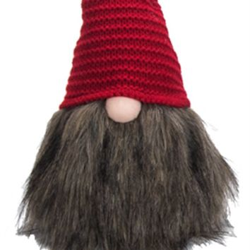 Fabric and Faux Fur Gnome Shelf Sitter -- Red Knit Hat