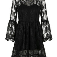 Black Leaf Patterned Belle Sleeve Mesh Insert Dipped Back Dress