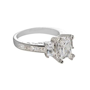 925 Sterling Silver Cubic Zirconia Engagement Ring 8mm x 6mm Emerald Cut CZ