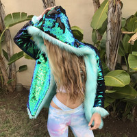 Mermaid Sequin Revolution Full Length Jacket