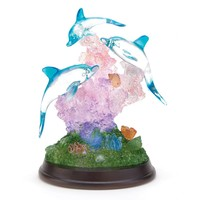 Lighted Blue Dolphin And Pink Coral Polyresin Sculpture