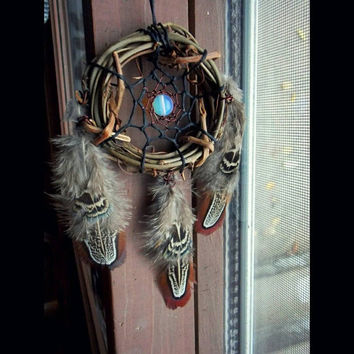 Small Dream Catcher with Opalite and Pheasant Feathers // Hippie Boho Decor