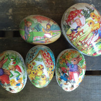 5 Vintage Paper Mache Easter Eggs, Germany, Spring, Easter Decoration, Candy Container, Bunny, Rabbit, Holiday Decor