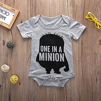 2016 Summer Style Cotton Jumpsuit Newborn Baby Bodysuits Baby Boy Girls Infant Bodysuit Cartoon Letter Print Clothes Outfits