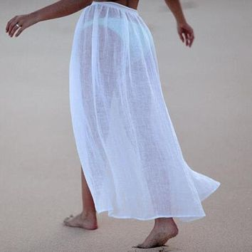 Hot sale beach sunscreen clothing sexy beach seaside vacation strappy skirt knot waist white