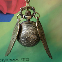 Steampunk Golden Round Quidditch Snitch Balls Pocket Watch locket Necklaces Double Sided brass Wings FREE Ribbon