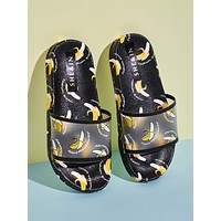 Banana Graphic Open Toe Sliders