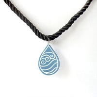 Necklace with pendant made in recycled CD : White and blue lavender raindrop - by Savousepate