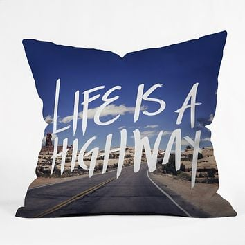 Leah Flores Life Is A Highway Throw Pillow
